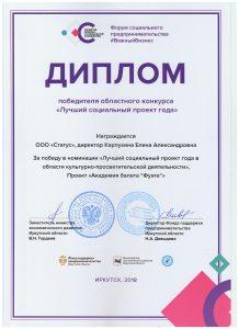 Диплом победителя областного конкурса Лучший социальный проект года 2018