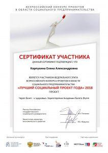 Сертификат Лучший социальный проект года Федеральный этап 2018